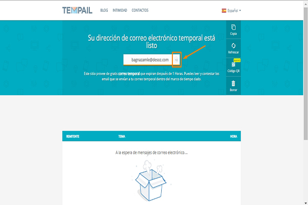 email temporal Tempail