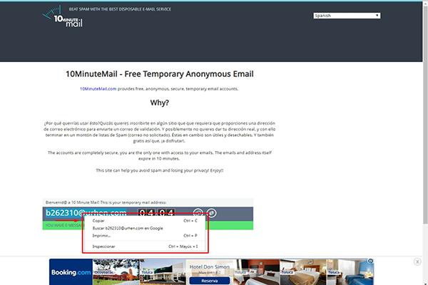 dirección de correo temporal