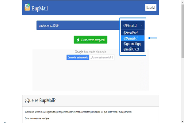 email temporal bupmail