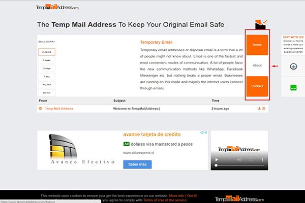 Opciones de temp mail