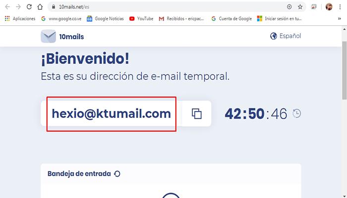 crear correo en Abrier una cuenta en 10Mails